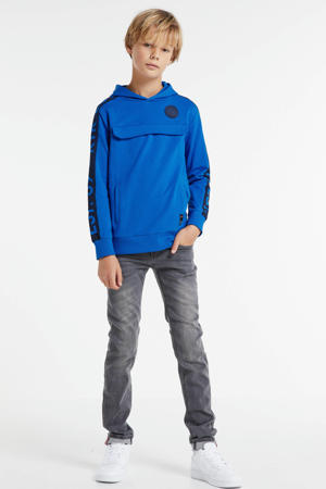 hoodie Goof met tekst kobaltblauw/zwart
