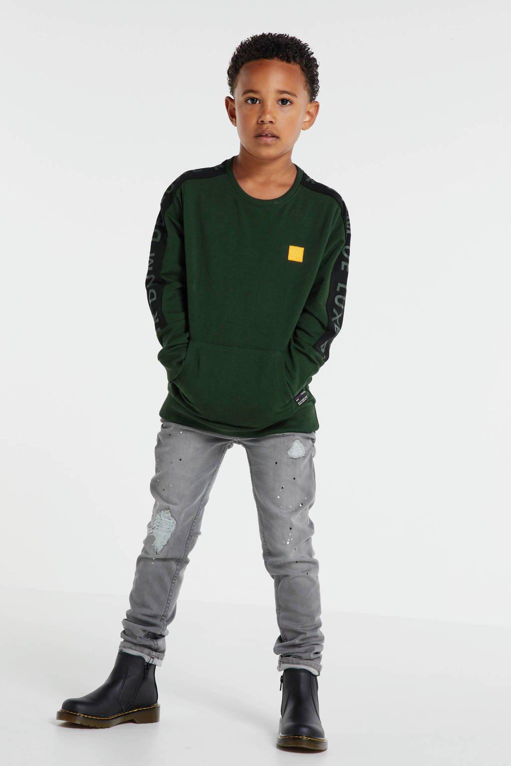Retour Denim sweater Fredo met contrastbies donkergroen, Donkergroen