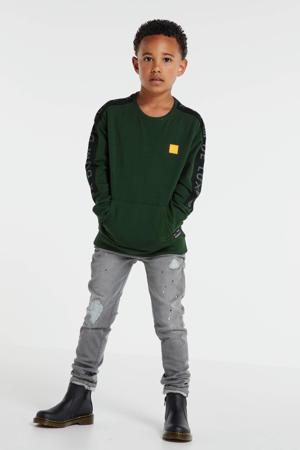 sweater Fredo met contrastbies donkergroen