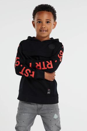 hoodie Goof met tekst zwart/rood