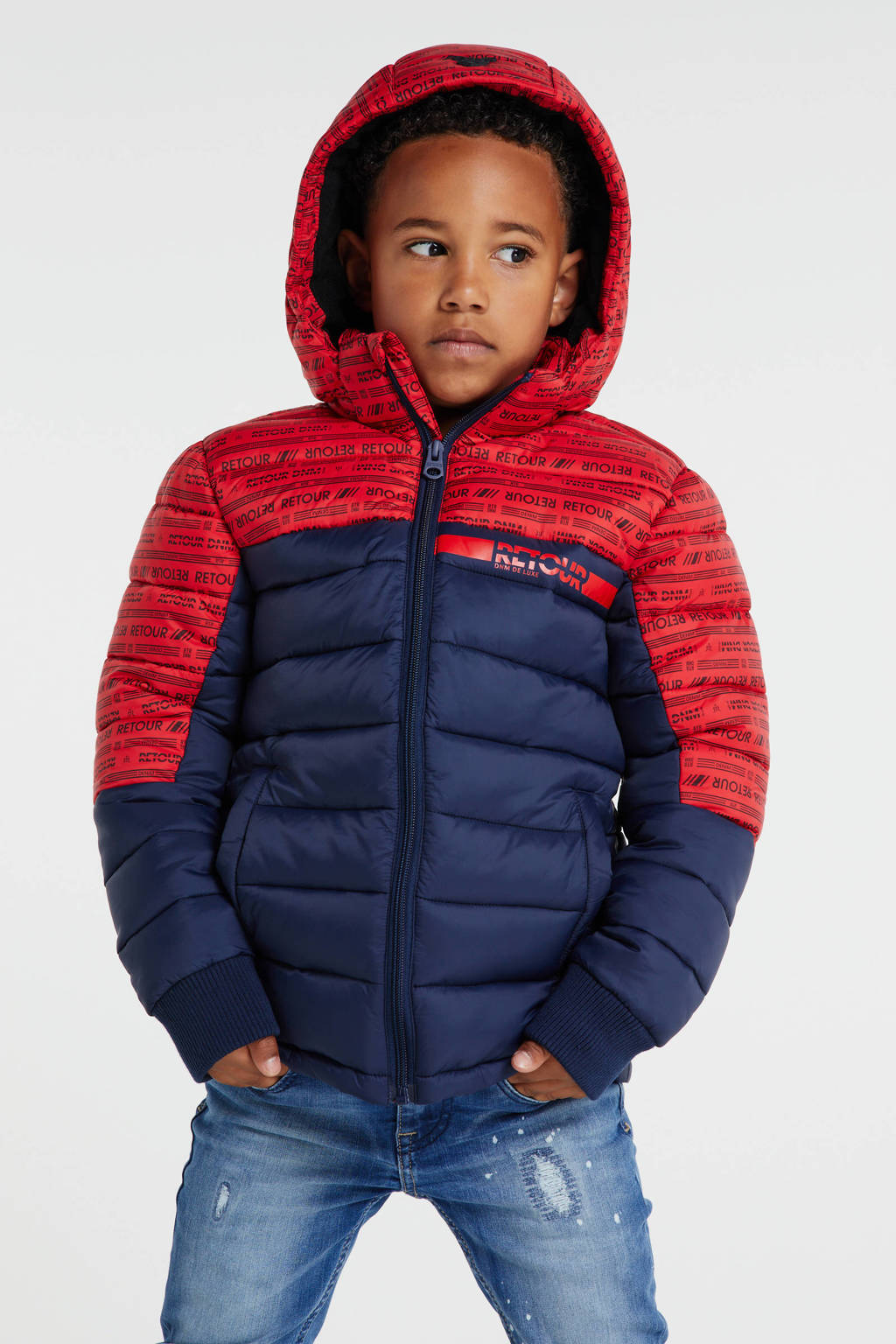 Retour Denim gewatteerde winterjas Terence rood/blauw, Rood/blauw