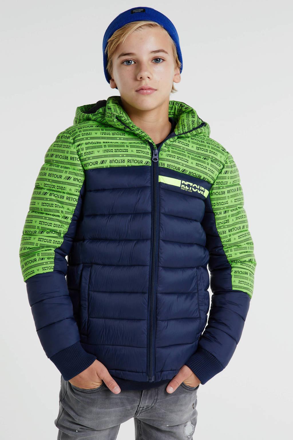 Retour Denim gewatteerde winterjas Terence groen/blauw, Groen/blauw