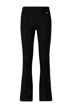 flared broek Lini met zijstreep zwart/goud