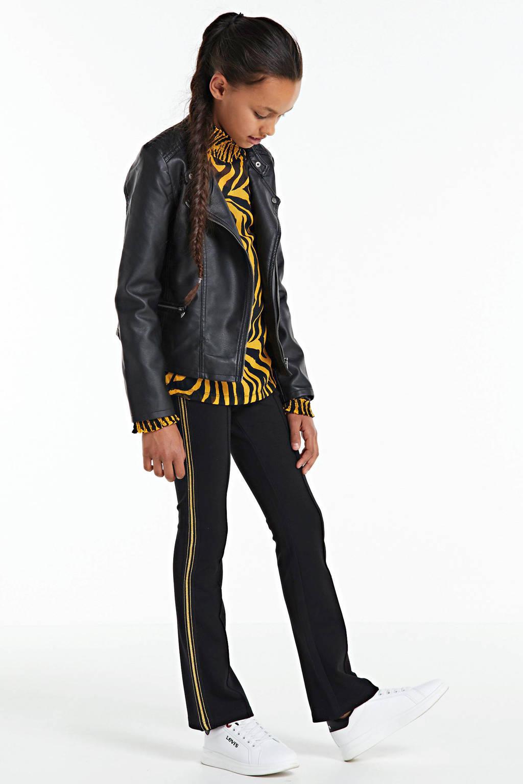 Retour Denim flared broek Lini met zijstreep zwart/goud, Zwart/goud