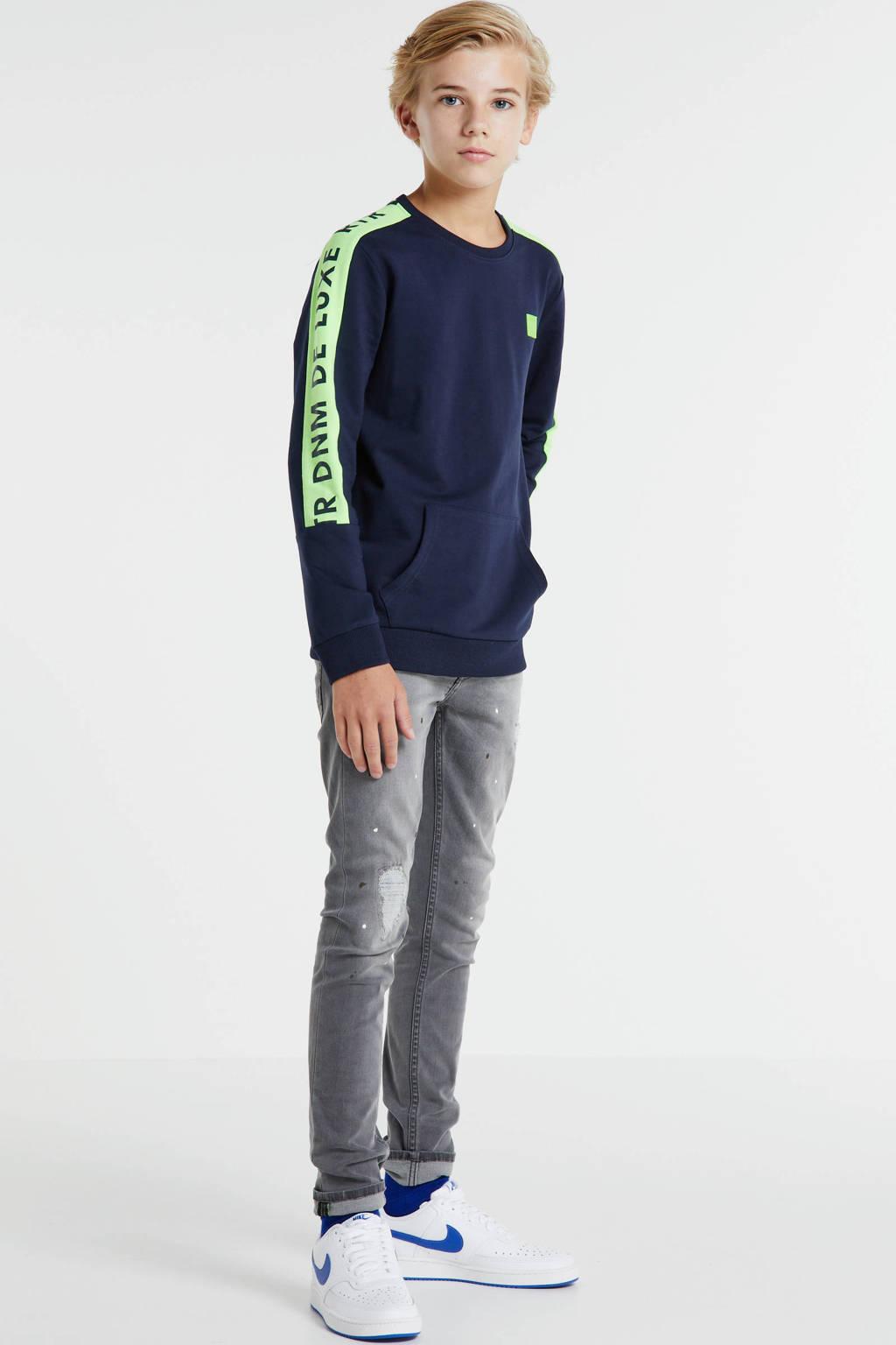 Retour Denim sweater Fredo met logo donkerblauw/neongeel, Donkerblauw/neongeel