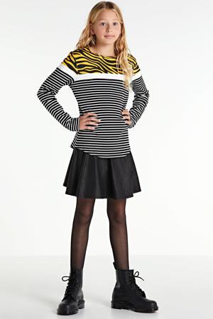 gestreepte longsleeve Renata zwart/geel/wit