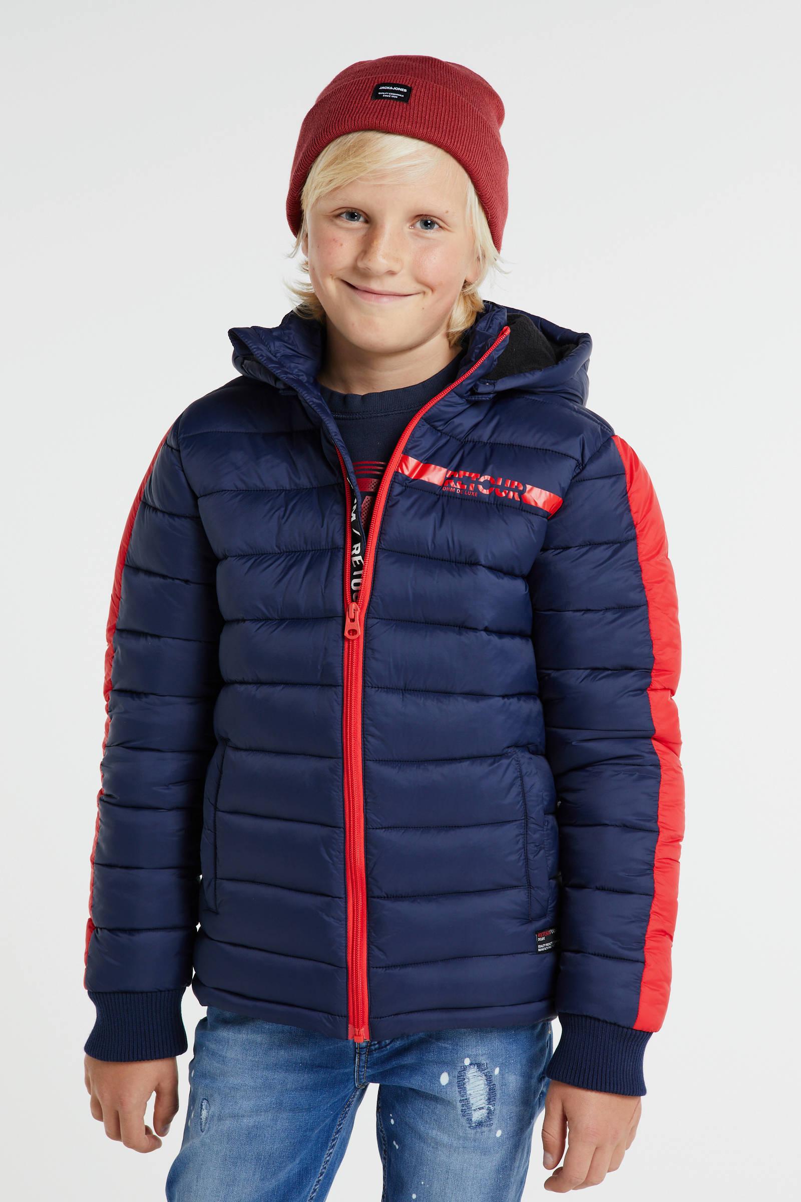 gewatteerde winterjas Rene donkerblauwrood