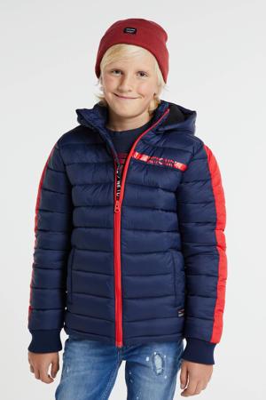 gewatteerde winterjas Rene donkerblauw/rood