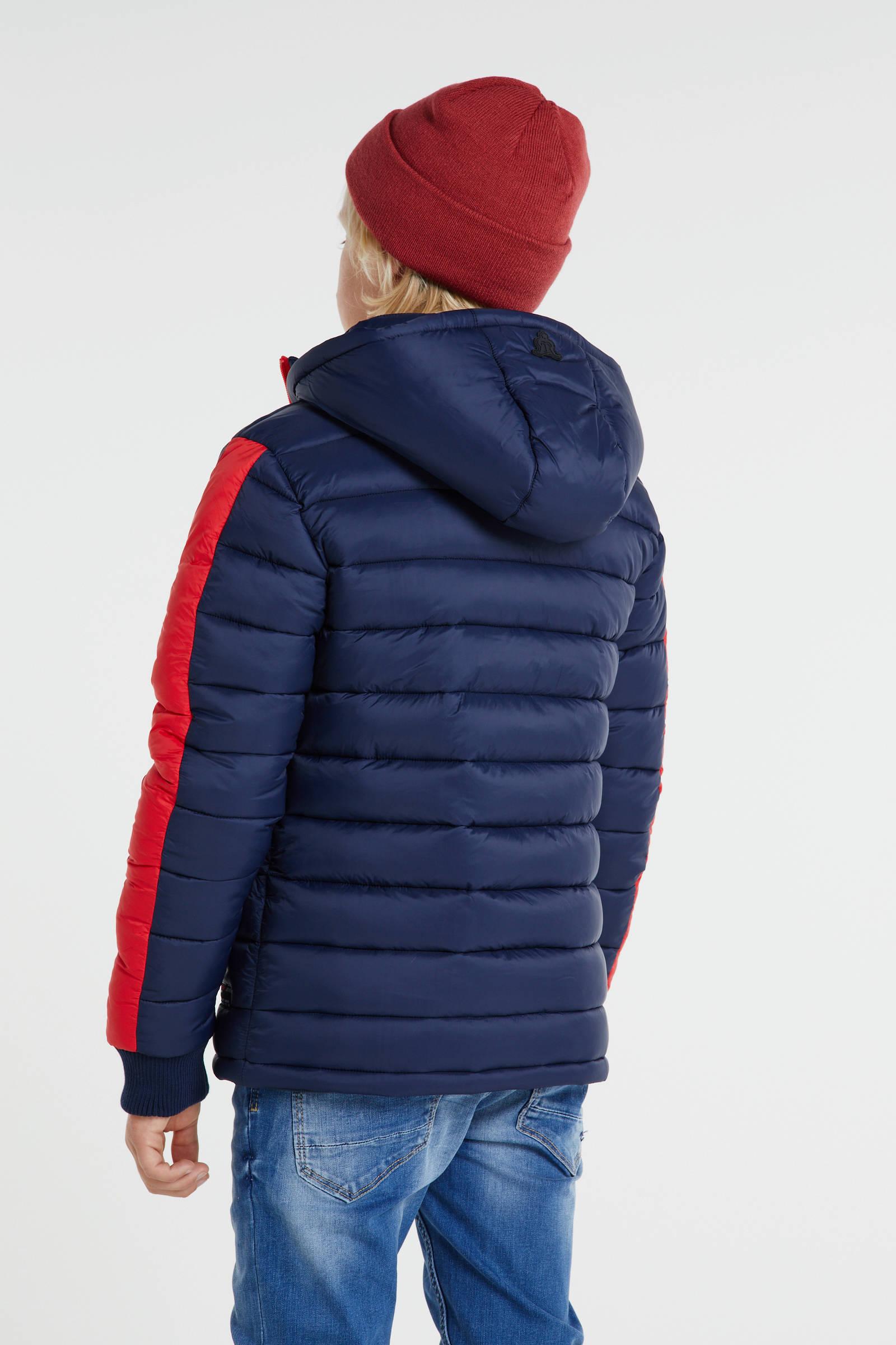 Retour Denim gewatteerde winterjas Rene donkerblauwrood