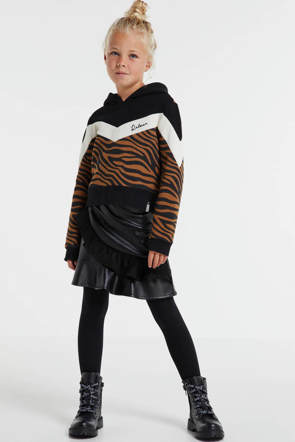 Retour Denim hoodie Suze met zebraprint zwart/bruin, Zwart/bruin