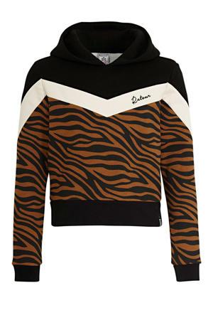 hoodie Suze met zebraprint zwart/bruin