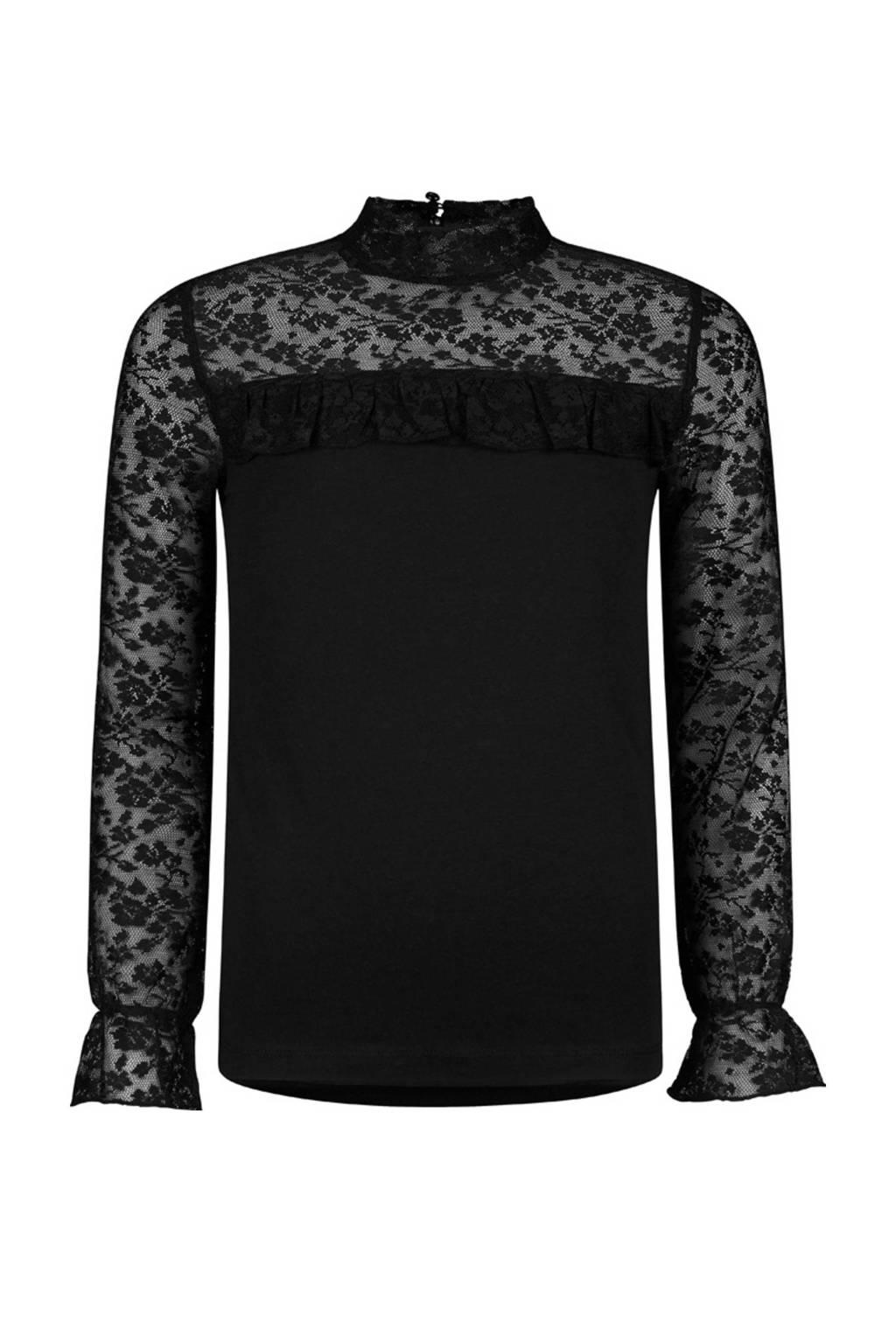 Retour Denim semi-transparante top Phoeby met kant zwart, Zwart