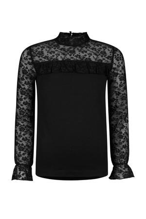 semi-transparante top Phoeby met kant zwart