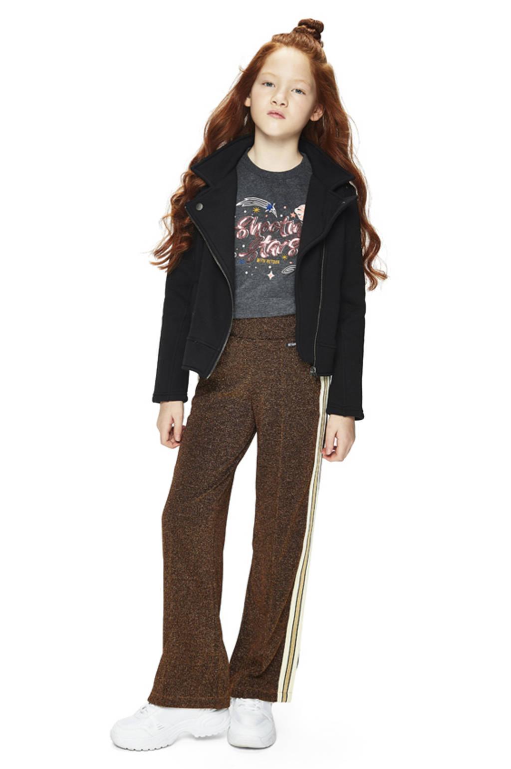 Retour Denim loose fit broek Arabelle met zijstreep lichtbruin/bruin, Lichtbruin/bruin