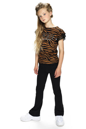 high waist flared broek Almina zwart
