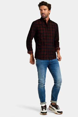 geruit slim fit overhemd Glenn donkerrood