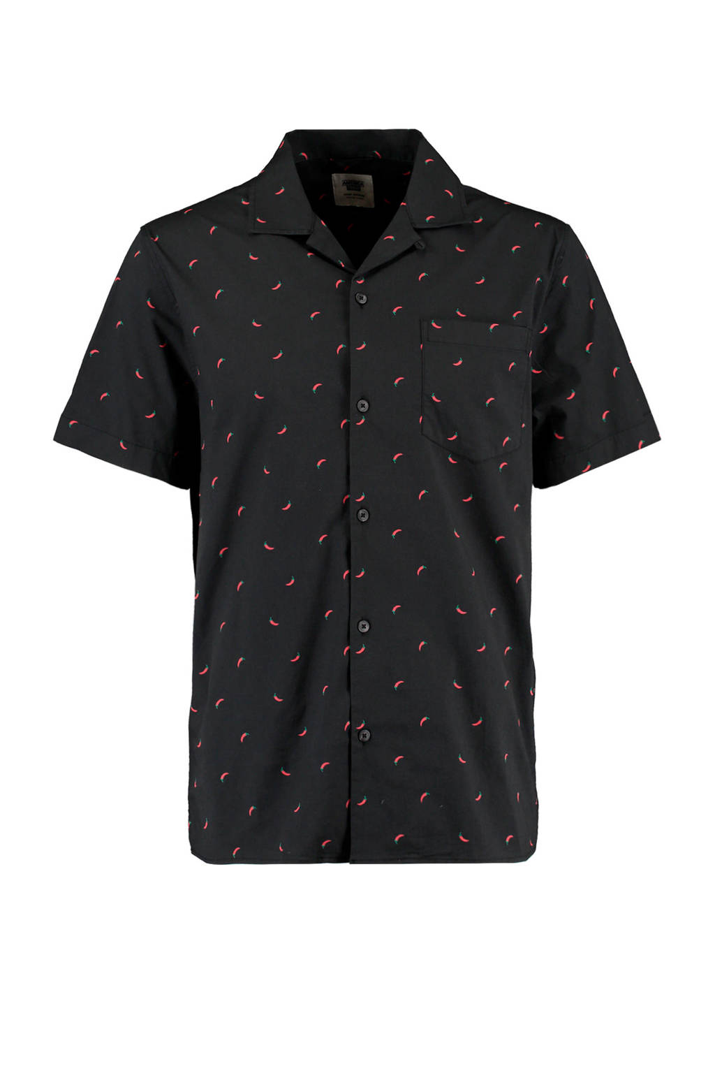 America Today regular fit overhemd met all over print washed black