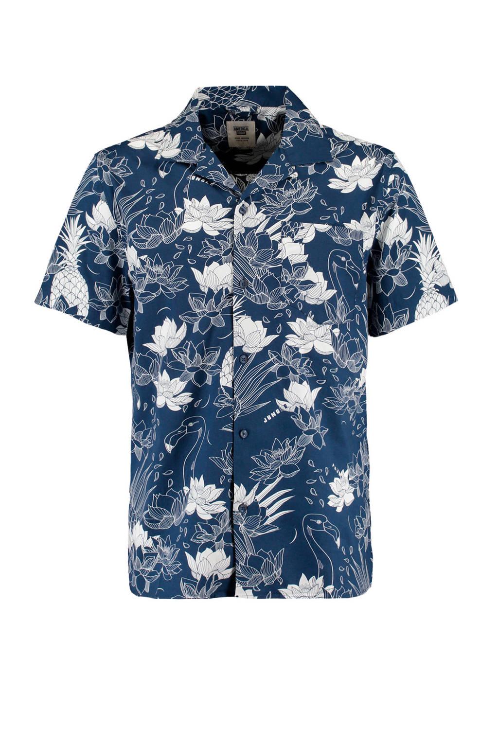 America Today regular fit overhemd Izra met all over print blauw, Blauw