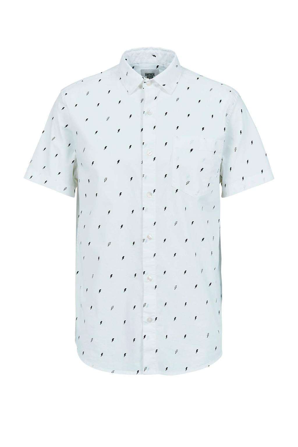 America Today regular fit overhemd Izra met all over print gebroken wit, Gebroken wit