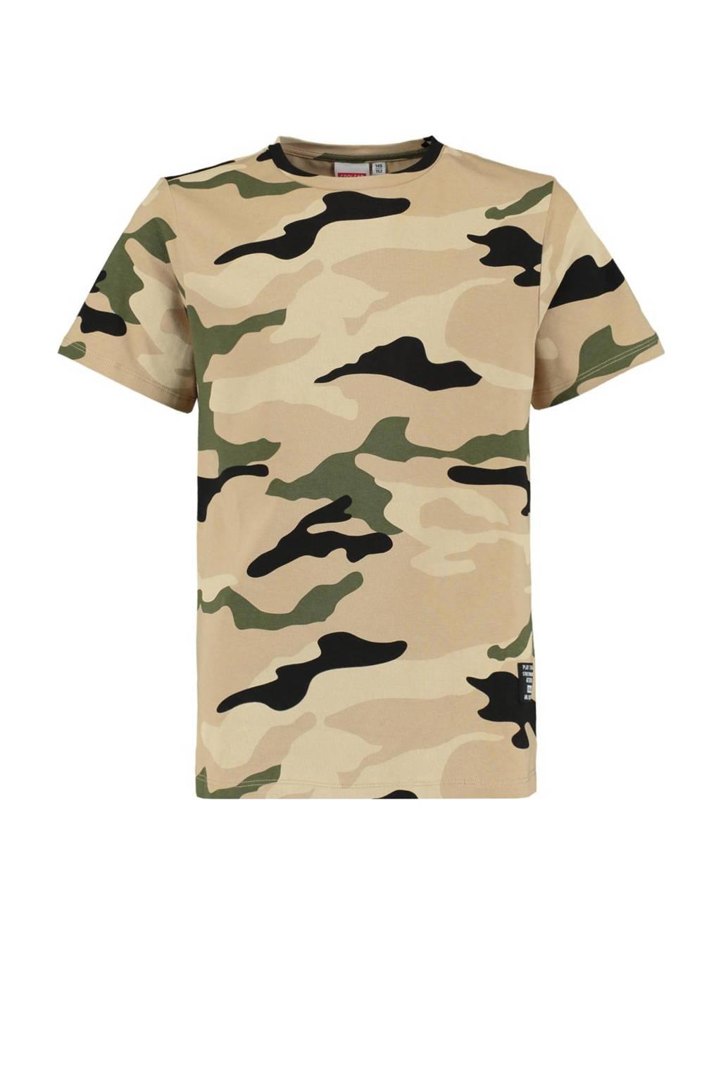 CoolCat Junior T-shirt Enzo met camouflageprint zand/army groen/zwart, Zand/army groen/zwart