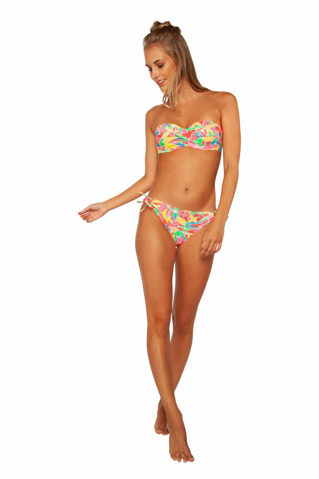 Protest strapless bandeau bikini Pousada C-cup met all over print roze/groen/geel, Parakeet