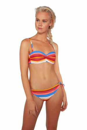 gestreept strapless bandeau bikini Pousada blauw/rood/wit