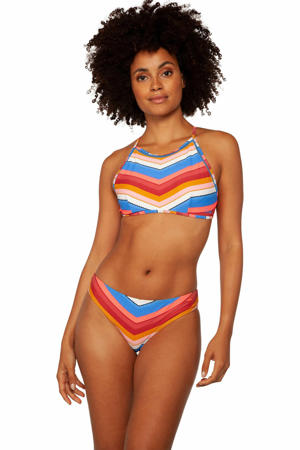 gestreepte crop bikini Vanessa blauw/rood/wit