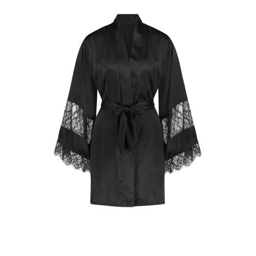 Hunkem??ller kimono met kant zwart
