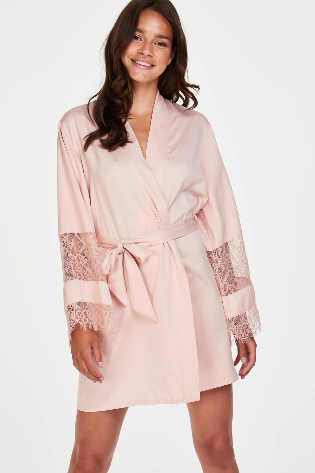 Hunkemöller kimono met kant lichtroze, Lichtroze