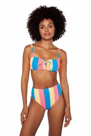 gestreepte bandeau bikini Special roze/blauw/geel