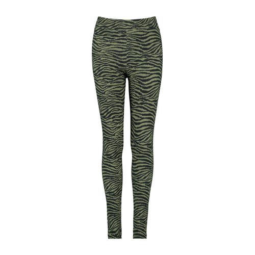 CoolCat Junior legging Peb met zebraprint donkergr