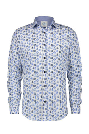 slim fit overhemd met all over print blauw/wit