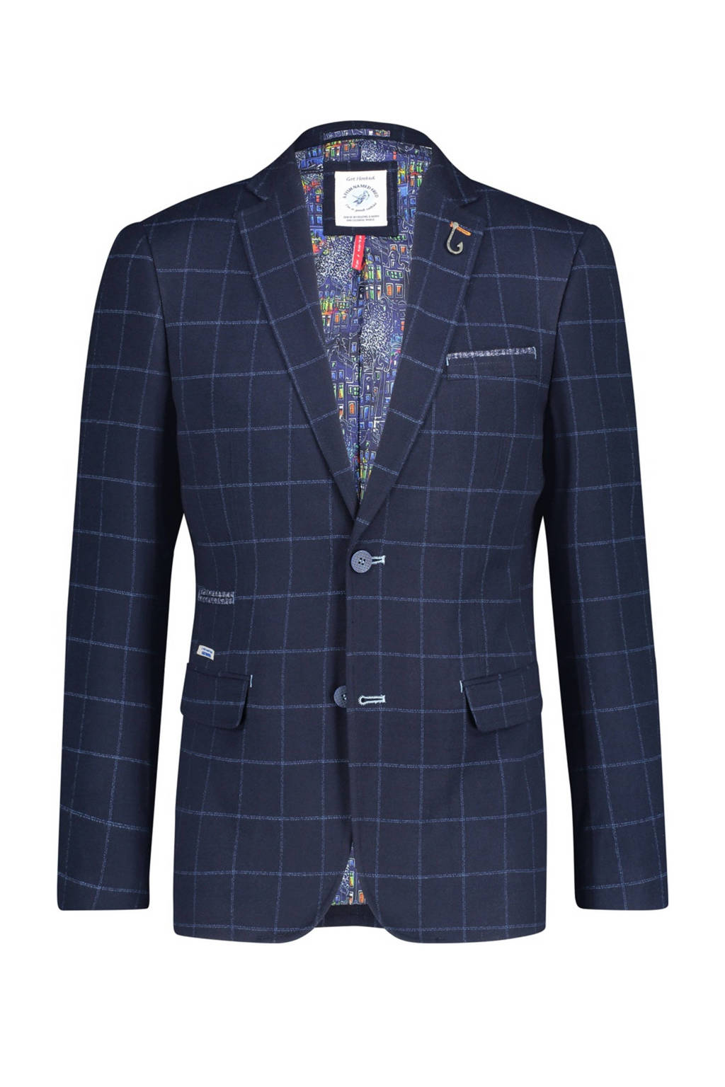 A fish named Fred geruit slim fit colbert donkerblauw, Donkerblauw