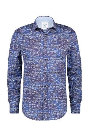 regular fit overhemd met all over print blauw/roze