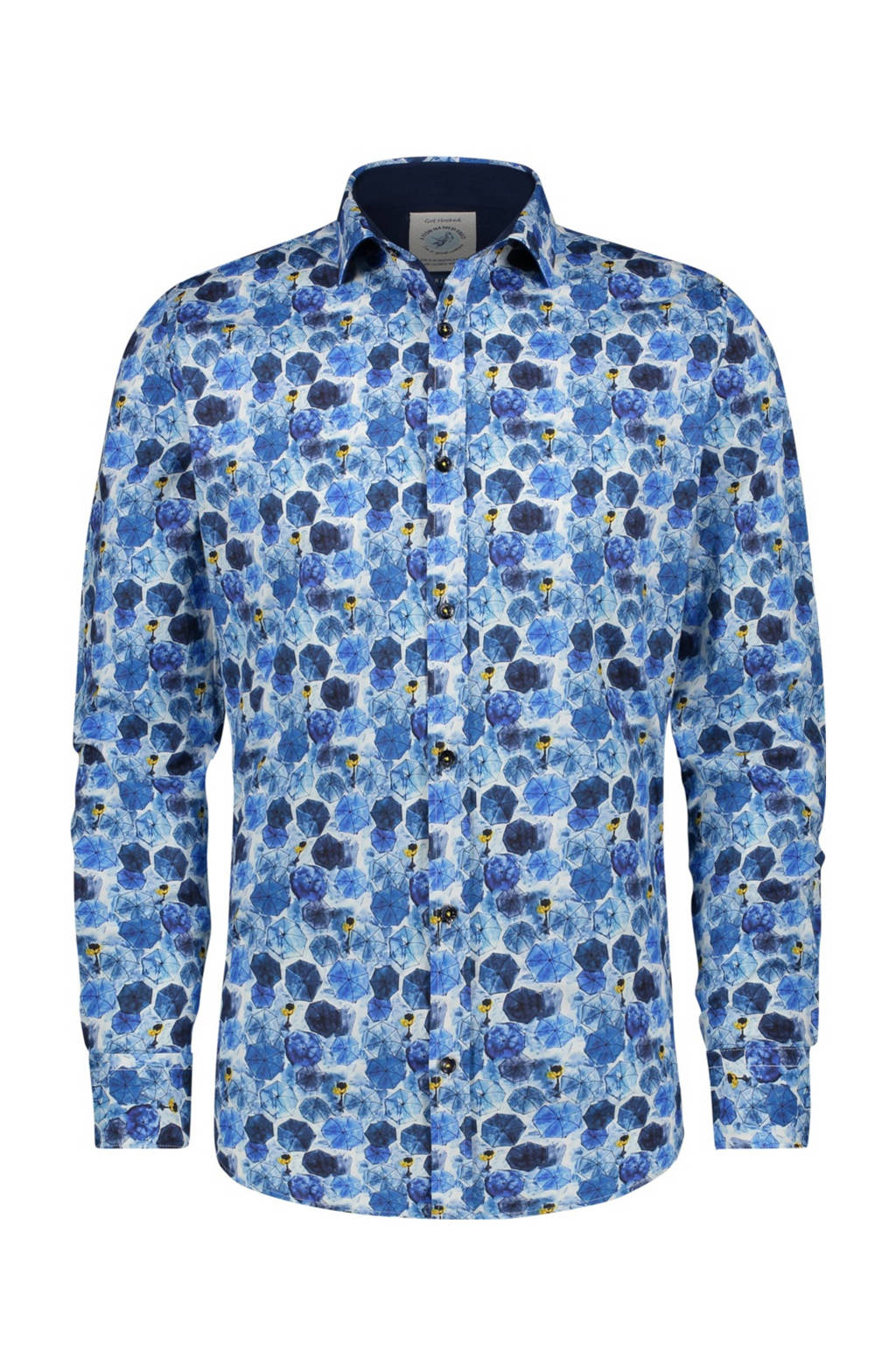 A fish named Fred regular fit overhemd met all over print blauw/donkerblauw/wit, Blauw/donkerblauw/wit