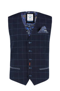 A fish named Fred geruit gilet donkerblauw, Donkerblauw