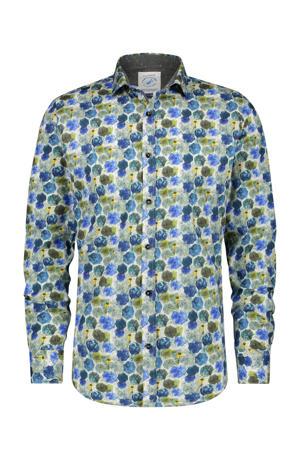 slim fit overhemd met all over print groen/blauw