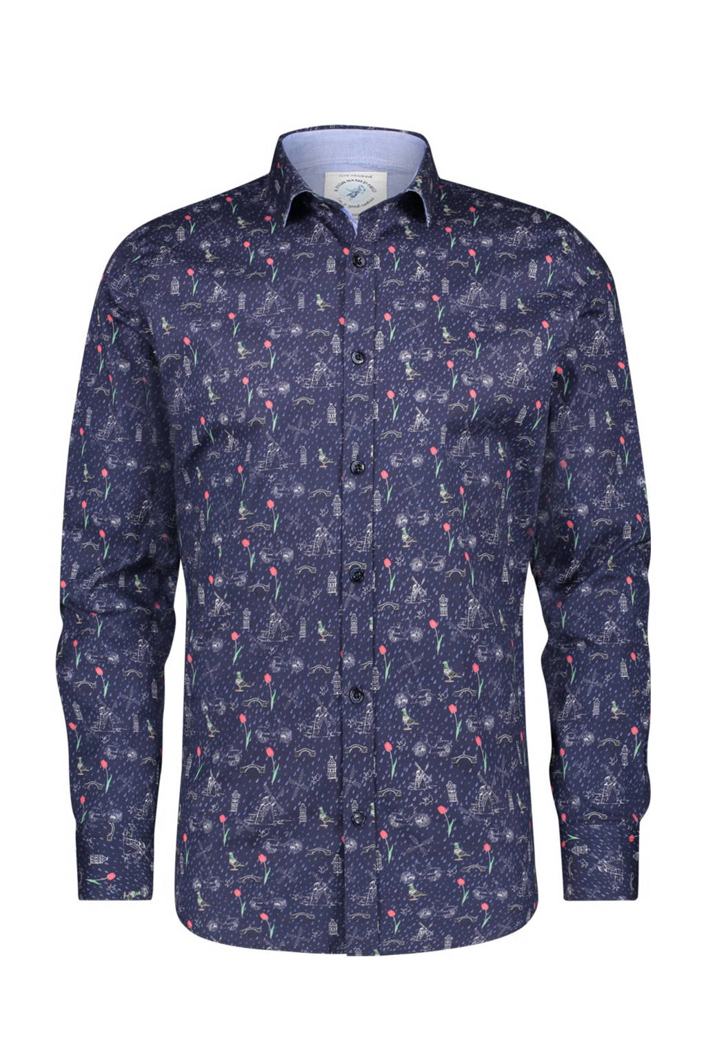 A fish named Fred regular fit overhemd met all over print donkerblauw/rood/groen, Donkerblauw/rood/groen
