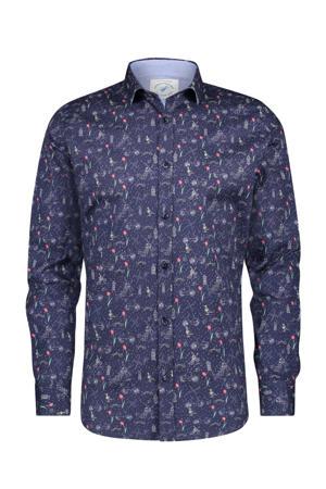 regular fit overhemd met all over print donkerblauw/rood/groen