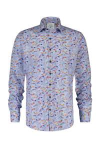 A fish named Fred regular fit overhemd met all over print lichtblauw/groen/oranje, Lichtblauw/groen/oranje