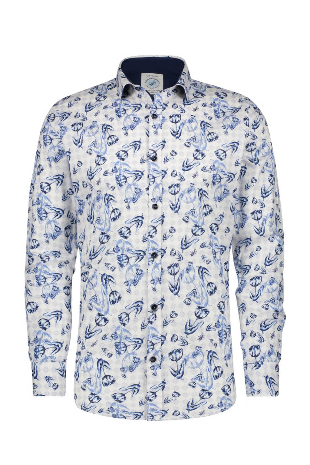 A fish named Fred regular fit overhemd met all over print wit/blauw/donkerblauw, Wit/blauw/donkerblauw