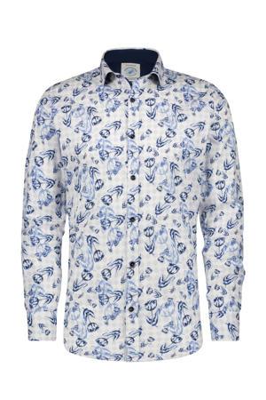 regular fit overhemd met all over print wit/blauw/donkerblauw