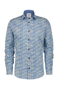 A fish named Fred slim fit overhemd met all over print blauw, Blauw