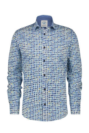 slim fit overhemd met all over print blauw