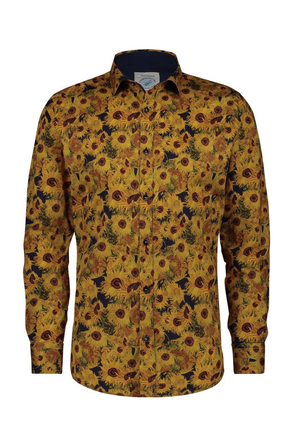 A fish named Fred regular fit overhemd met all over print geel/bruin, Geel/bruin