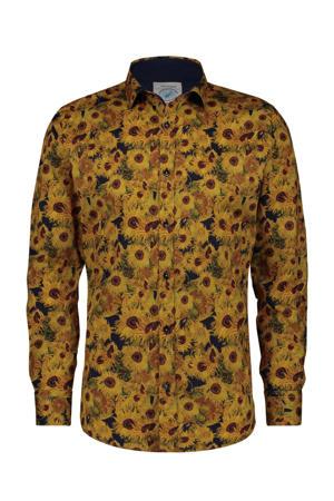 regular fit overhemd met all over print geel/bruin