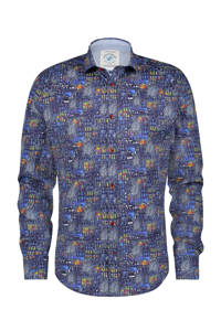 A fish named Fred regular fit overhemd met all over print donkerblauw/groen/rood, Donkerblauw/Groen/Rood