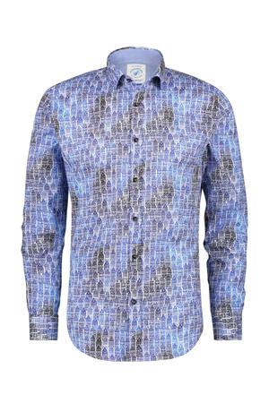 regular fit overhemd met all over print lichtblauw/beige