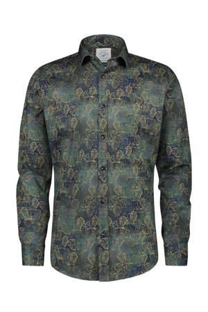 slim fit overhemd met all over print petrol