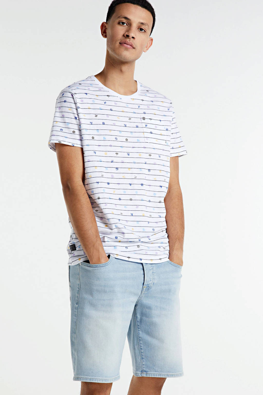 PME Legend gestreept T-shirt wit/blauw, Wit/blauw